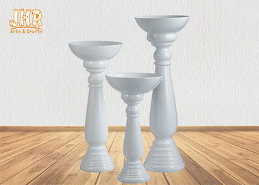 3 Piece Glossy White Fiberglass Flower Pots Floor Vases With Pedestal