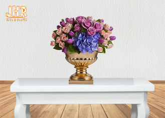 3 Sizes Classic Fiberglass Flower Pots Gold Leafed Finish Poly Resin Planters