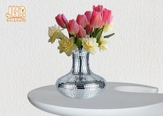 Decorative Silver Mosaic Glass Polystone Centerpiece Table Vase Flower Pots
