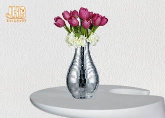 Modern Luxury Fiberglass Flower Pot Table Vase Plant Pots Silver Mosaic Glass