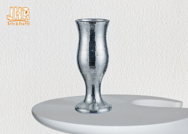 Decorative Indoor Small Fiberglass Planters Table Vases Silver Mirror Mosaic Finish