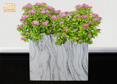 Marble Finish Plant Pots Clay Flower Pots Square Pot Planters Decorative Floor Vases