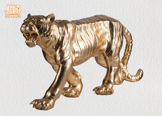 Large Gold Leafed Polyresin Animal Figurines Tiger Sculpture Table Statue