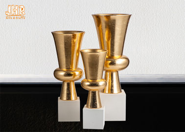 Trumpet Gold Leaf Fiberglass Planters With Frosted White Base Pot Planters
