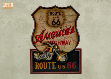 Resin Motorcycle Wall Decor Wooden Wall Plaques Decorative Route 66 Wall Art Signs