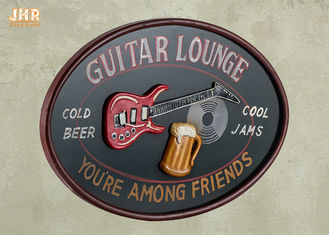 Personalized Antique Wall Art Sign Pub Sign Wall Decor Oval Shape Guitar Lounge