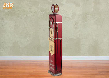 Antique Wooden Storage Cabinet Red Color Decorative Wood Floor Clock Gas Pump Storage Rack