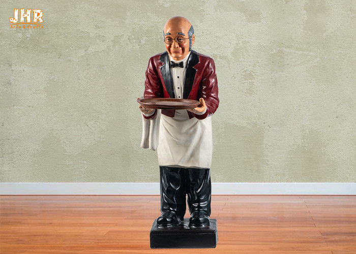 Red Poly Butler Statue Fat Chef Kitchen Decor Resin Sculpture 90cm