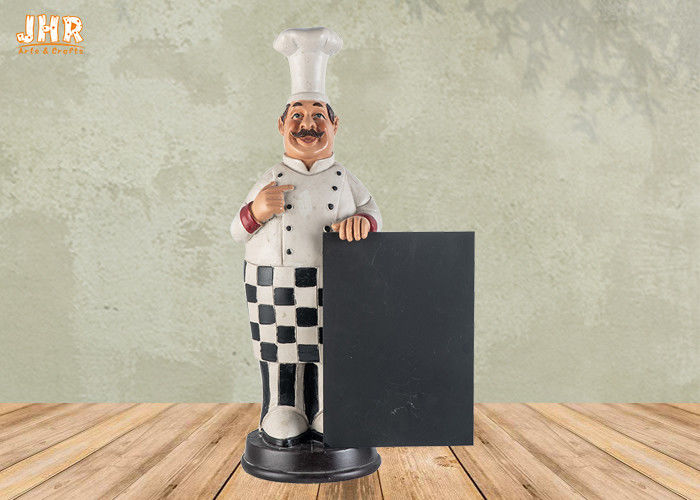 Hy Fat Polyresin Chef Holding Wooden