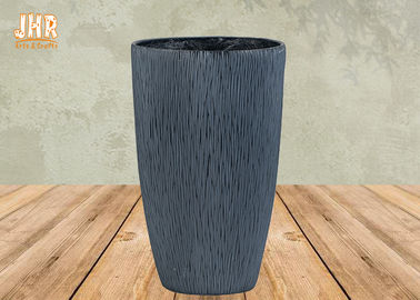 China Fiberclay Garden Pots Clay Flower Pots Large Clay Plant Pots Gray Color Outdoor Pots factory